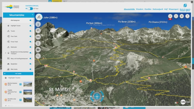 Die neue 3D Karte für das Engadin Sommerversion